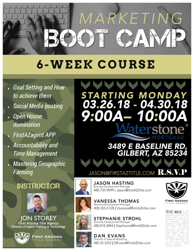 Marketing Boot Camp 6-Week Course @ Waterstone Mortgage | Gilbert | Arizona | United States