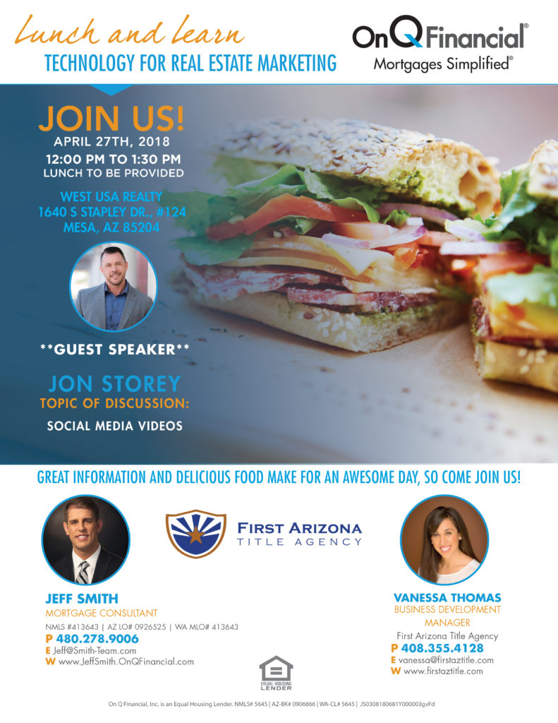 Lunch and Learn: Technology for Real Estate Marketing @ West USA Realty | Mesa | Arizona | United States