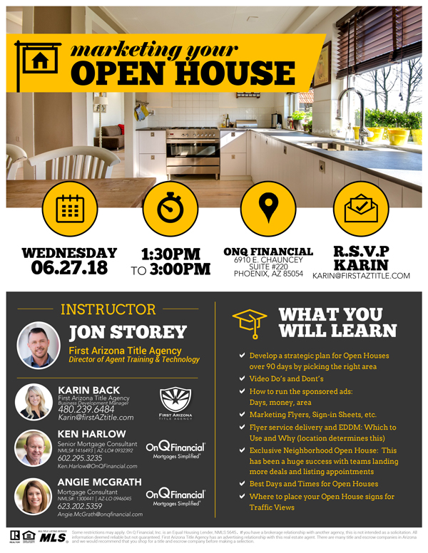 Open House Marketing @ OnQ Financial