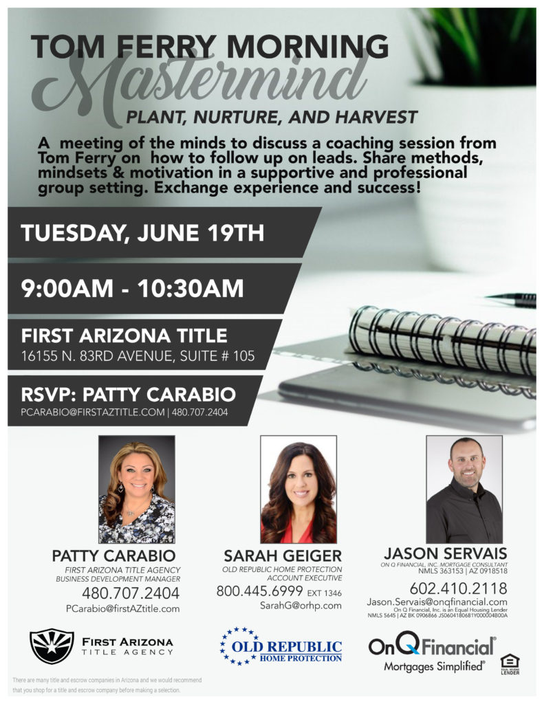 Tom Ferry Morning Mastermind @ First Arizona Title