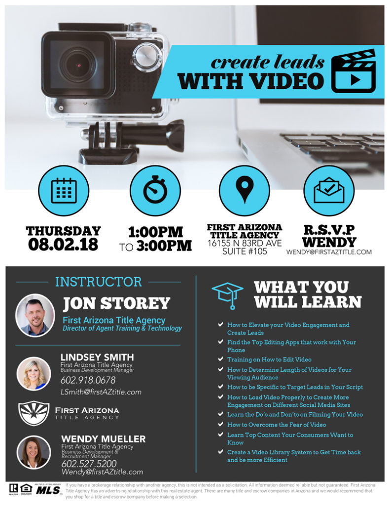 Create Leads with Video @ First Arizona Title