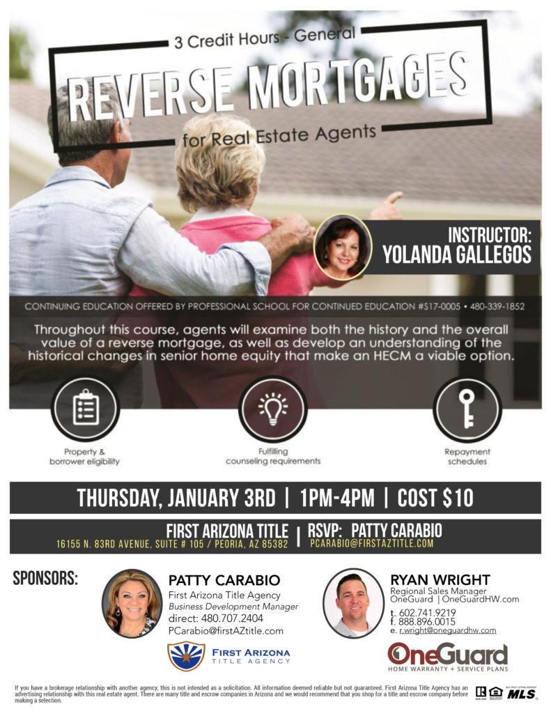 Reverse Mortgages for Real Estate Agents @ First Arizona Title